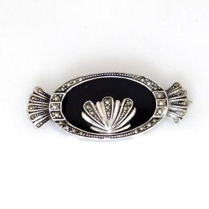 Art Deco 925 Silver Black Onyx Marcasite Brooch